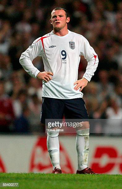 Wayne Rooney of England looks on during the International friendly match between Denmark and England at The Parken Stadium on August 17 2005 in...