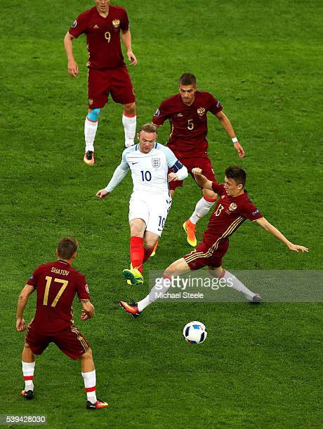 Wayne Rooney of England passes the ball during the UEFA EURO 2016 Group B match between England and Russia at Stade Velodrome on June 11 2016 in...