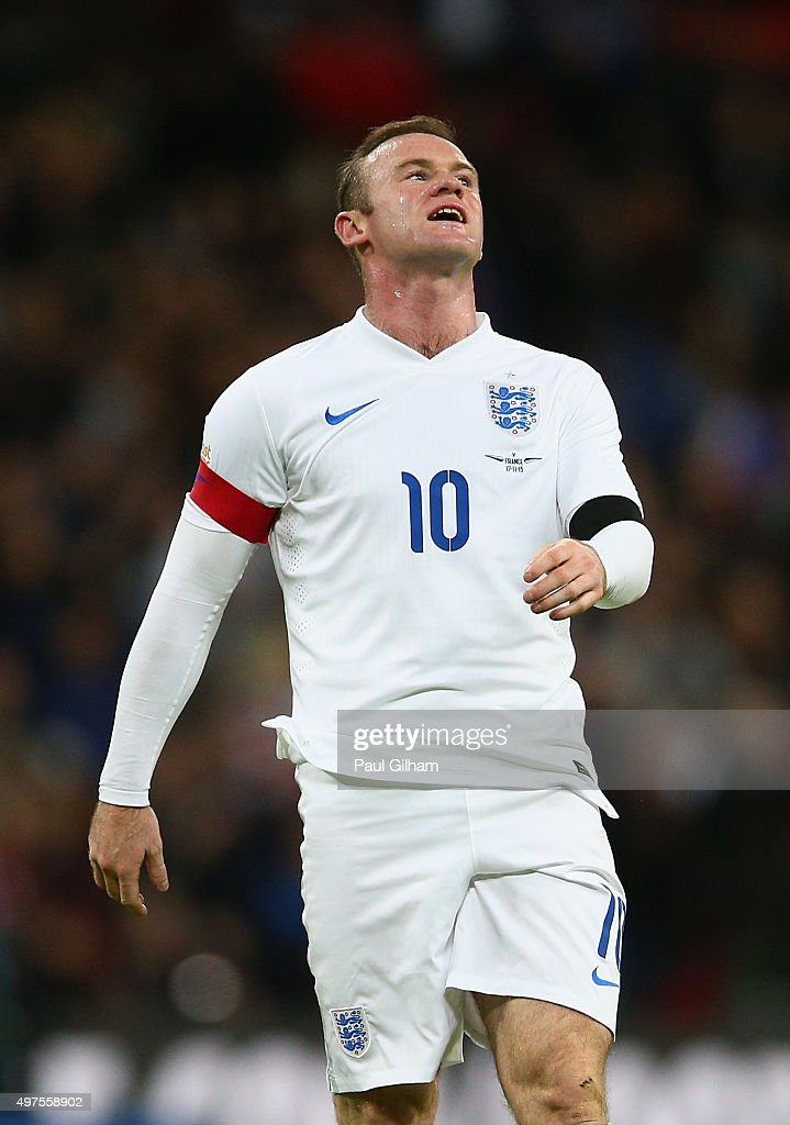 Wayne Rooney of England reacts after missing a chance during the International Friendly match between England and France at Wembley Stadium on...