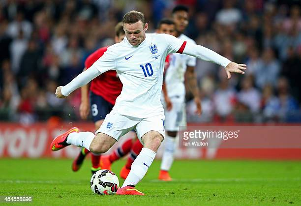 Wayne Rooney of England scores a goal from the penalty spot during the International friendly match between England and Norway at Wembley Stadium on...