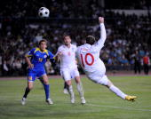 Wayne Rooney of England scores during the FIFA2010 World Cup Qualifier between Kazakhstan and England at the Central Stadium on June 6 2009 in Almaty...