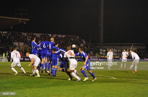 Wayne Rooney of England scores from a free kick during the FIFA 2014 World Cup Qualifier Group H match between San Marino and England at Serravalle...