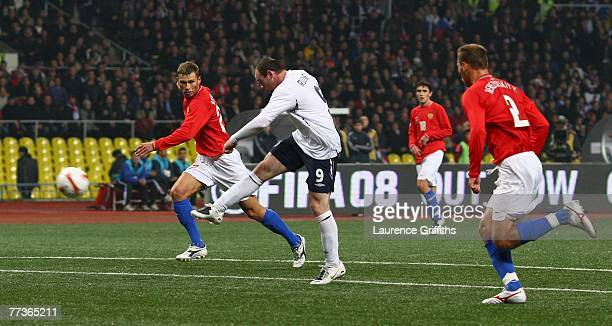 Wayne Rooney of England scores the opening goal during the Euro 2008 qualifying match between Russia and England at The Luzhniki Stadium on October...