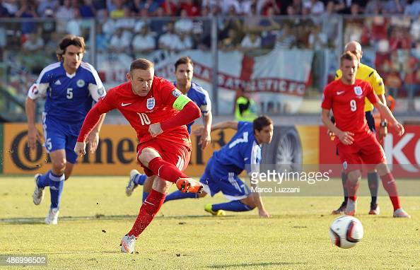 Wayne Rooney of England scores the opening goal from the penalty spot equalling the record of 49 goals set by Sir Bobby Charlton during the UEFA EURO...