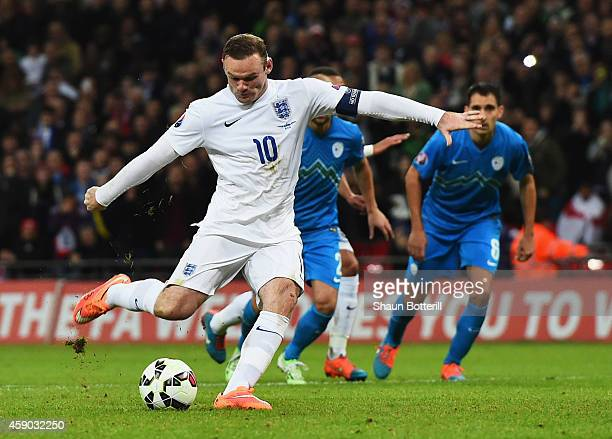 Wayne Rooney of England scores their first and equalising goal from a penalty during the EURO 2016 Qualifier Group E match between England and...