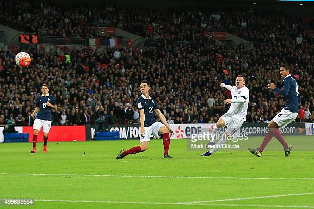 Wayne Rooney of England shoots during the International Friendly match between England and France at Wembley Stadium on November 17 2015 in London...