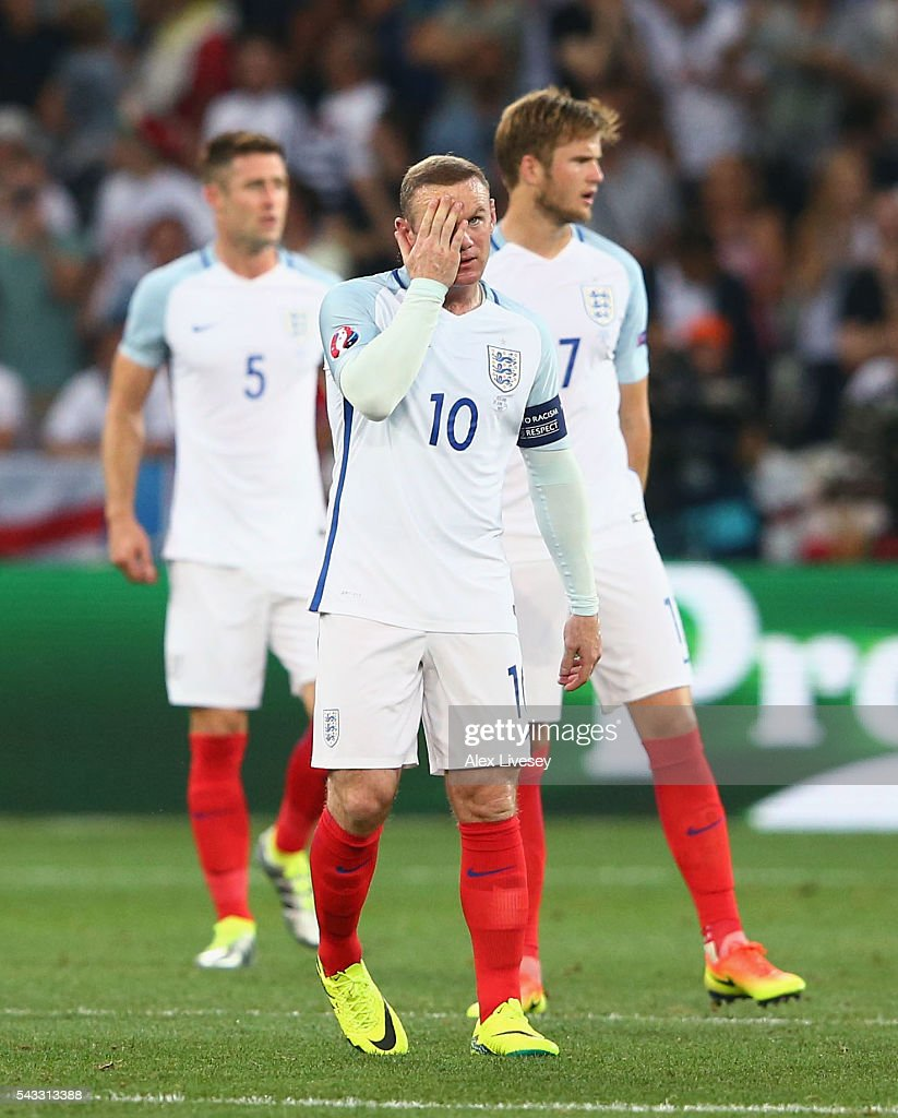 Wayne Rooney of England shows his frustration after Iceland's second goal during the UEFA EURO 2016 round of 16 match between England and Iceland at Allianz Riviera Stadium on June 27, 2016 in Nice, France.