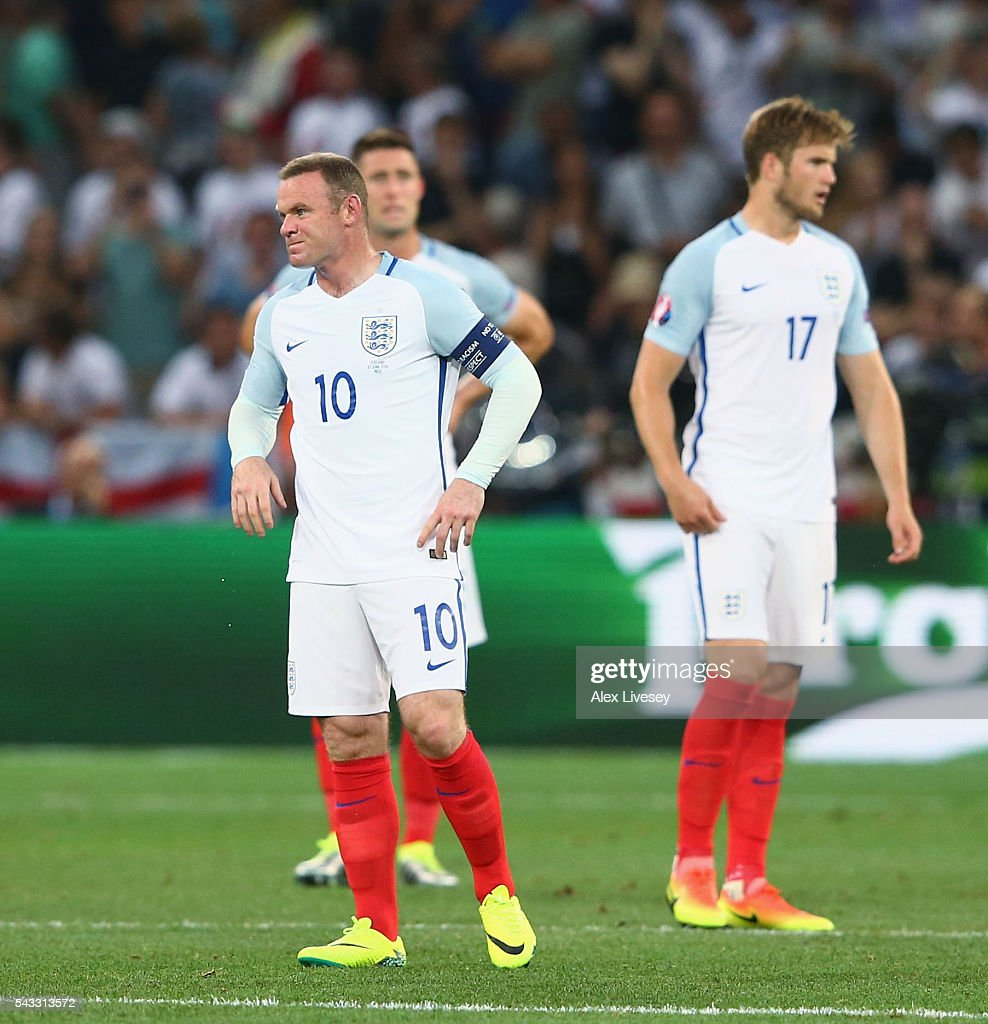 <a gi-track='captionPersonalityLinkClicked' href=/galleries/search?phrase=Wayne+Rooney&family=editorial&specificpeople=157598 ng-click='$event.stopPropagation()'>Wayne Rooney</a> of England shows his frustration after Iceland's second goal during the UEFA EURO 2016 round of 16 match between England and Iceland at Allianz Riviera Stadium on June 27, 2016 in Nice, France.