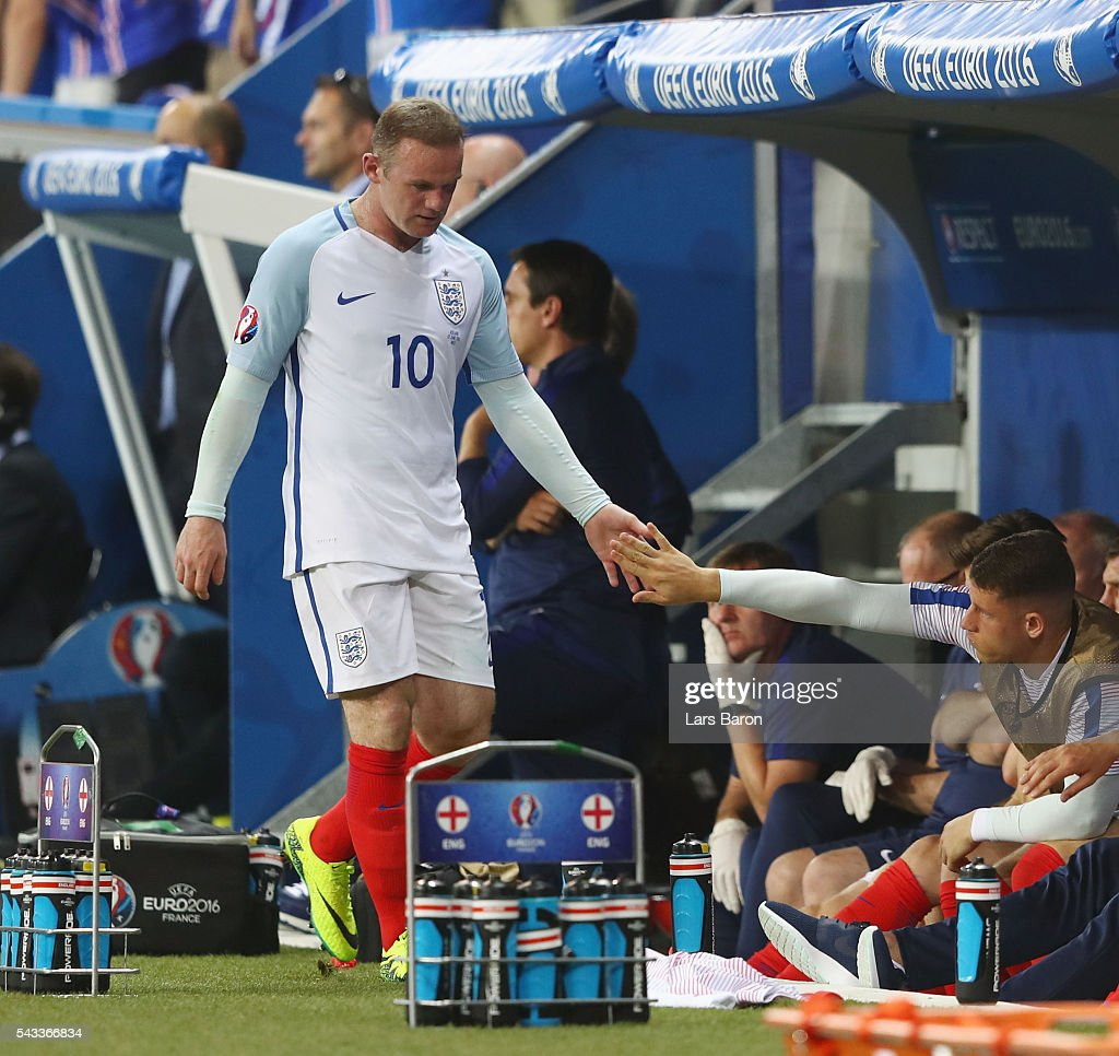 <a gi-track='captionPersonalityLinkClicked' href=/galleries/search?phrase=Wayne+Rooney&family=editorial&specificpeople=157598 ng-click='$event.stopPropagation()'>Wayne Rooney</a> of England shows his frustration on the bench after being replaced during the UEFA EURO 2016 round of 16 match between England and Iceland at Allianz Riviera Stadium on June 27, 2016 in Nice, France.