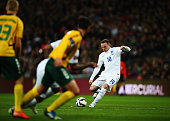 Wayne Rooney of England takes a free kick during the EURO 2016 Qualifier match between England and Lithuania at Wembley Stadium on March 27 2015 in...