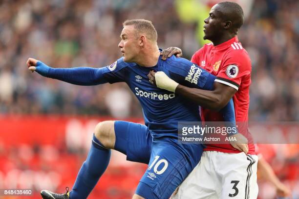 Wayne Rooney of Everton and Eric Bailly of Manchester United during the Premier League match between Manchester United and Everton at Old Trafford on...