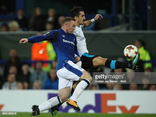 Wayne Rooney of Everton and Joao Pedro of Apollon Limassolof during the UEFA Europa League group E match between Everton FC and Apollon Limassol at...