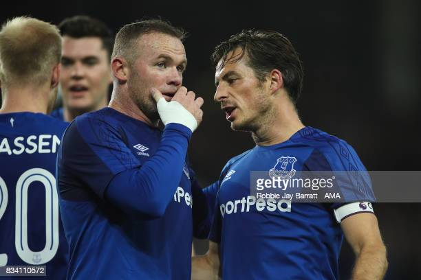 Wayne Rooney of Everton and Leighton Baines of Everton during the UEFA Europa League Qualifying PlayOffs round first leg match between Everton FC and...