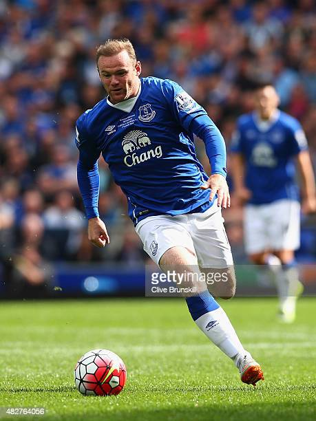 Wayne Rooney of Everton and Manchester United in action during the Duncan Ferguson Testimonial match between Everton and Villarreal at Goodison Park...