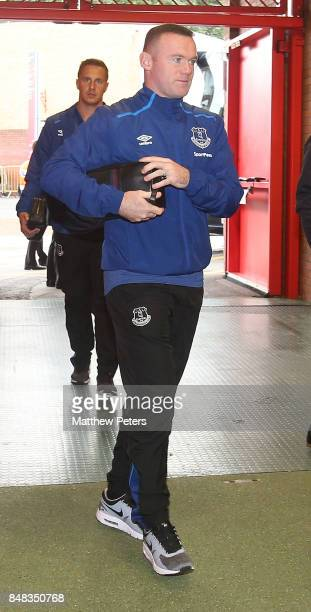 Wayne Rooney of Everton arrives ahead of the Premier League match between Manchester United and Everton at Old Trafford on September 17 2017 in...