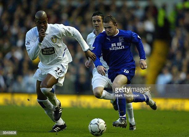 Wayne Rooney of Everton battles for the ball with Michael Duberry of Leeds during the FA Barclaycard Premiership match between Leeds United and...