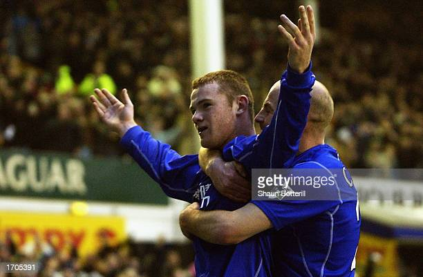 Wayne Rooney of Everton celebrates after scoring Everton's second goal during the FA Barclaycard Premiership match between Everton and Blackburn...