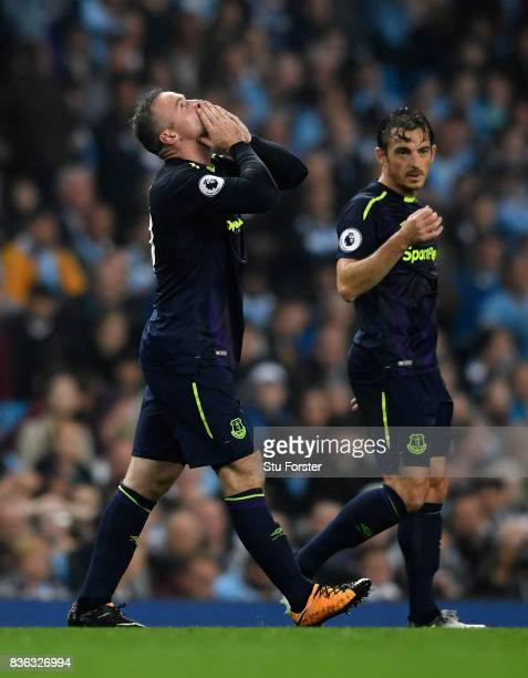 Wayne Rooney of Everton celebrates after scoring his sides first goal during the Premier League match between Manchester City and Everton at Etihad...