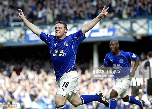 Wayne Rooney of Everton celebrates his first goal during the FA Barclaycard Premiership match between Everton and Newcastle United held on April 6...
