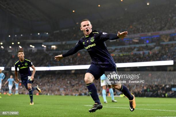 Wayne Rooney of Everton celebrates his goal during the Premier League match between Manchester City and Everton at Etihad Stadium on August 21 2017...