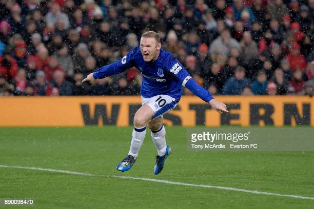 Wayne Rooney of Everton celebrates his goal during the Premier League match between Liverpool and Everton at Anfield on December 10 2017 in Liverpool...