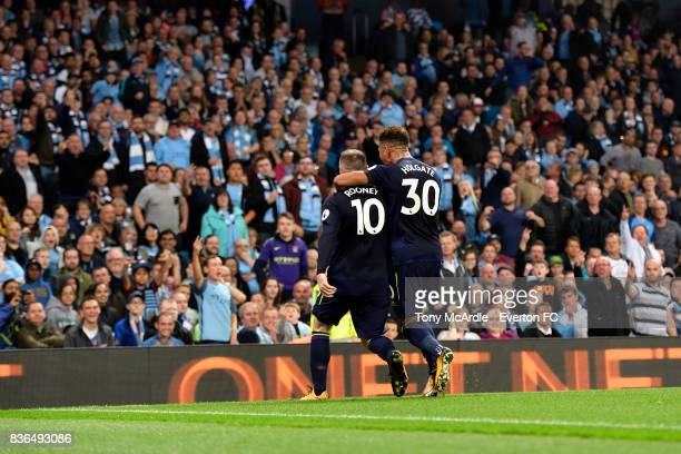 Wayne Rooney of Everton celebrates his goal with Mason Holgate during the Premier League match between Manchester City and Everton at Etihad Stadium...