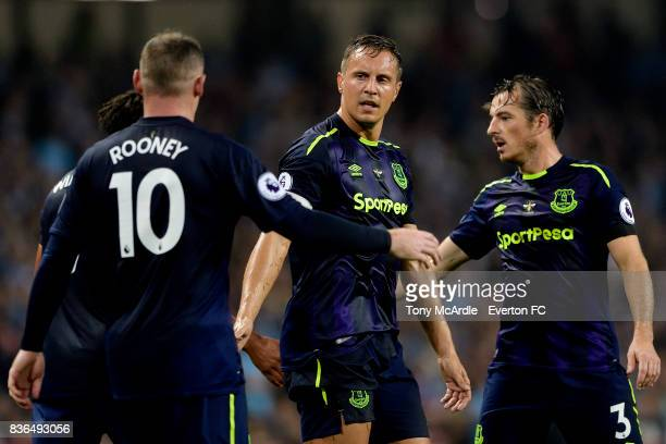 Wayne Rooney of Everton celebrates his goal with Phil Jagielka during the Premier League match between Manchester City and Everton at Etihad Stadium...