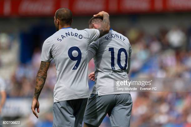 Wayne Rooney of Everton celebrates his goal with Sandro Ramirez during the preseason friendly match between KRC Genk and Everton FC on July 22 2017...