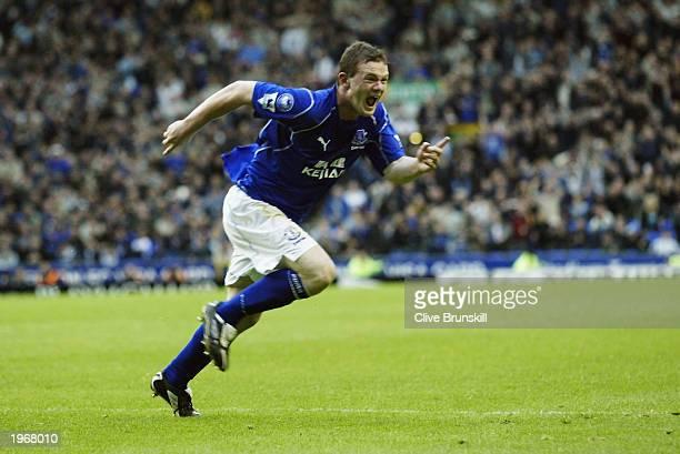 Wayne Rooney of Everton celebrates scoring the winning goal during the FA Barclaycard Premiership match between Everton and Aston Villa held on April...
