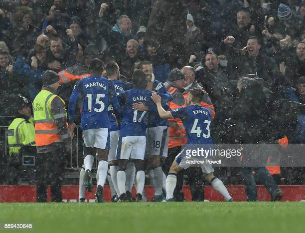 Wayne Rooney of Everton Celebrates the Equiliser during the Premier League match between Liverpool and Everton at Anfield on December 10 2017 in...