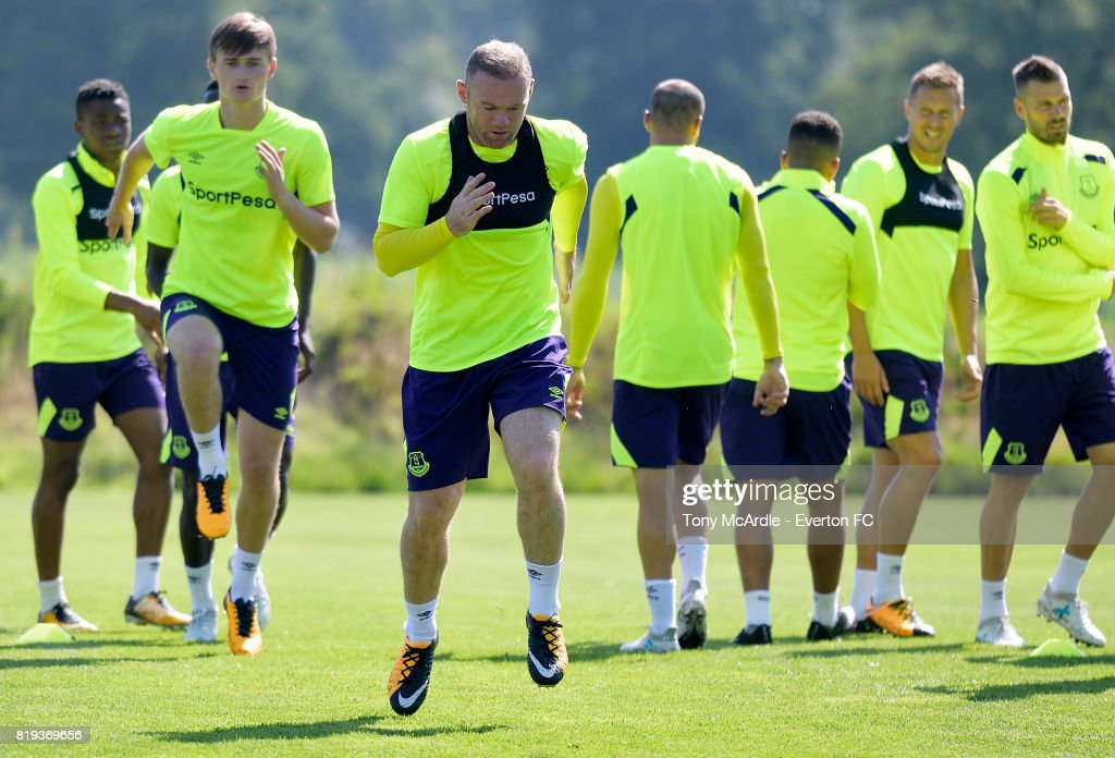 Wayne Rooney of Everton during pre-season training on July 18, 2017 in De Lutte, Netherlands.