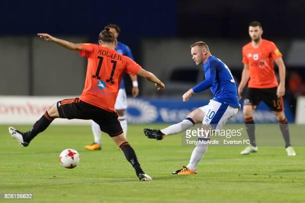 Wayne Rooney of Everton during UEFA Europa League Qualifier match between MFK Ruzomberok and Everton on August 3 2017 in Ruzomberok Slovakia