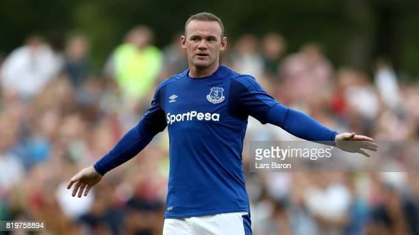 Wayne Rooney of Everton gestures during a preseason friendly match between FC Twente and Everton FC at Sportpark de Stockakker on July 19 2017 in De...