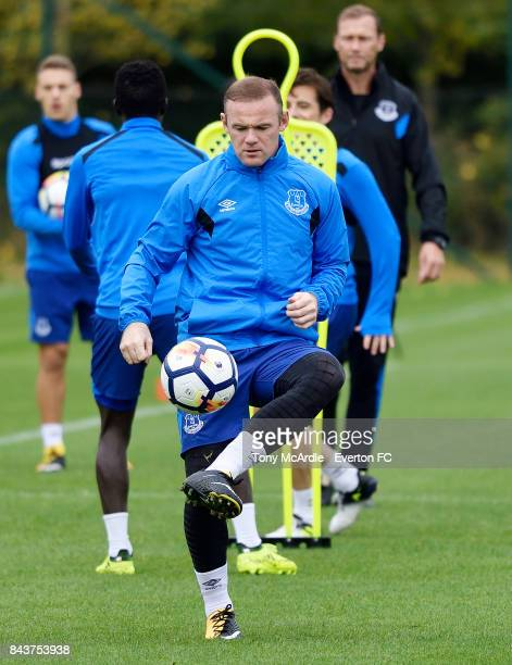 Wayne Rooney of Everton in action during the Everton FC training session at USM Finch Farm on September 7 2017 in Halewood England
