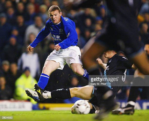 Wayne Rooney of Everton in action during the FA Barclaycard Premiership match between Everton and Leicester City at Goodison Park on December 20 2003...