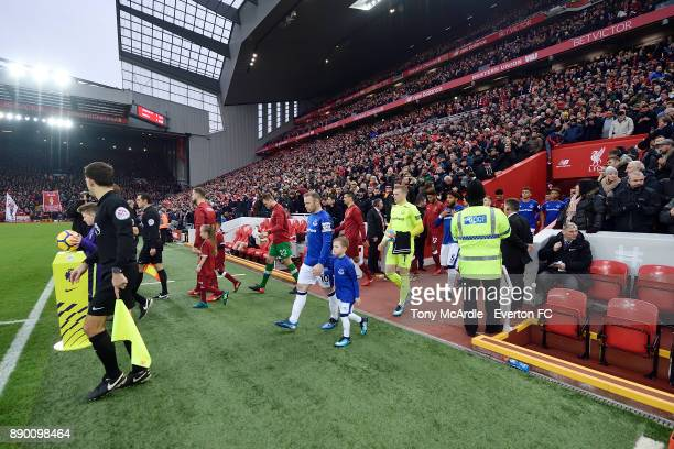 Wayne Rooney of Everton Leads out his team during the Premier League match between Liverpool and Everton at Anfield on December 10 2017 in Liverpool...
