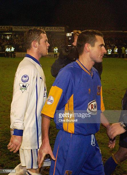 Wayne Rooney of Everton leaves the pitch dejected after the Shrewsbury Town v Everton FA Cup Third Round matchon January 4 2003 at Gay Meadow in...