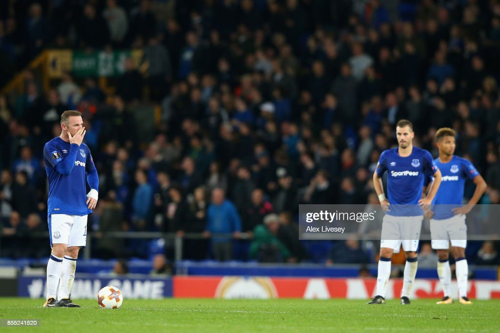 Wayne Rooney of Everton looks dejected after Apollon Limassol score their second goal during the UEFA Europa League group E match between Everton FC and Apollon Limassol at Goodison Park on September 28, 2017 in Liverpool, United Kingdom.