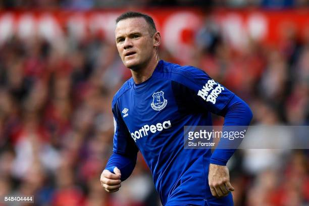 Wayne Rooney of Everton looks on during the Premier League match between Manchester United and Everton at Old Trafford on September 17 2017 in...