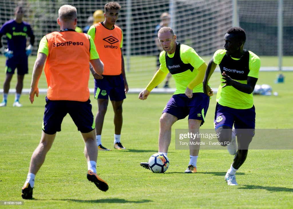 Wayne Rooney of Everton on the ball during pre-season training on July 18, 2017 in De Lutte, Netherlands.