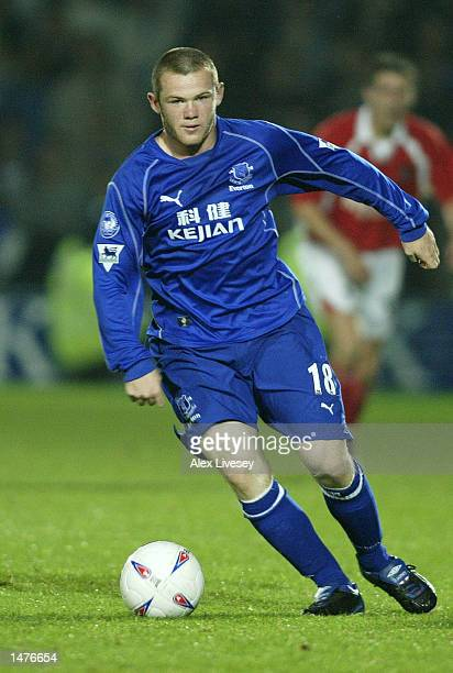 Wayne Rooney of Everton on the ball during the Worthington Cup second round match between Wrexham and Everton at the Racecourse Ground in Wrexham...