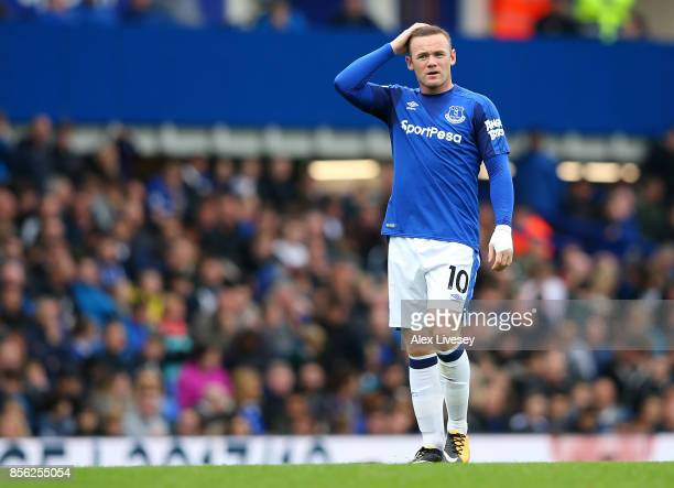 Wayne Rooney of Everton reacts during the Premier League match between Everton and Burnley at Goodison Park on October 1 2017 in Liverpool England