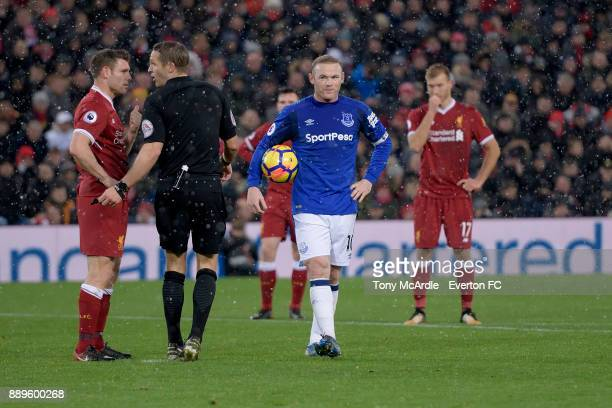 Wayne Rooney of Everton waits to take his penalty during the Premier League match between Liverpool and Everton at Anfield on December 10 2017 in...