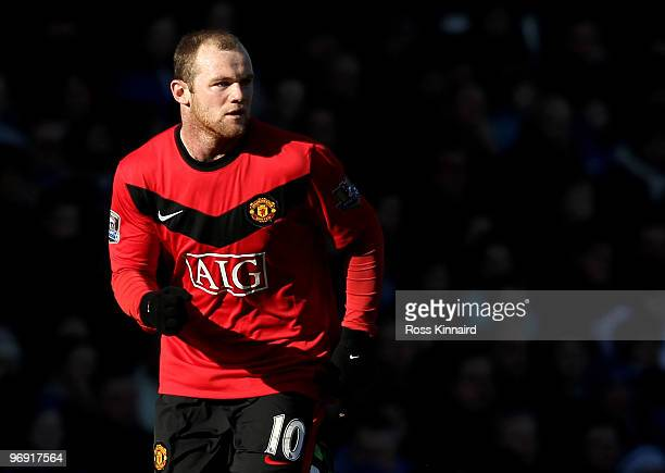 Wayne Rooney of Manchester during the Barclays Premiership match between Everton and Manchester United at Goodison Park on February 20 2010 in...