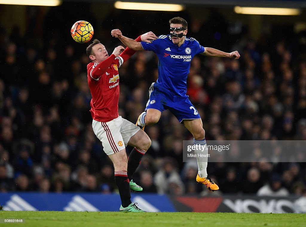 <a gi-track='captionPersonalityLinkClicked' href=/galleries/search?phrase=Wayne+Rooney&family=editorial&specificpeople=157598 ng-click='$event.stopPropagation()'>Wayne Rooney</a> of Manchester United and Nemanja Matic of Chelsea battle for possesion during the Barclays Premier League match between Chelsea and Manchester United at Stamford Bridge on February 7, 2016 in London, England.