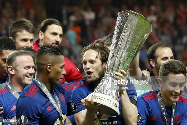 Wayne Rooney of Manchester United Antonio Valencia of Manchester United Zlatan Ibrahimovic of Manchester United Daley Blind of Manchester United with...