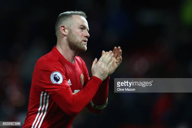 Wayne Rooney of Manchester United applauds supporters during the Premier League match between Manchester United and Hull City at Old Trafford on...