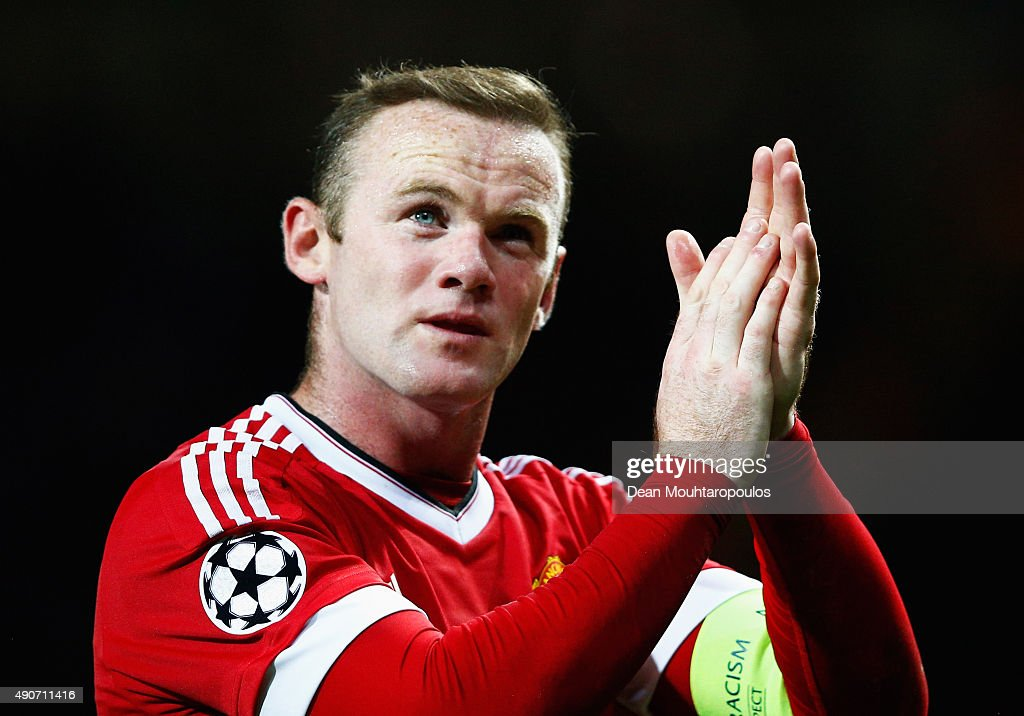 <a gi-track='captionPersonalityLinkClicked' href=/galleries/search?phrase=Wayne+Rooney&family=editorial&specificpeople=157598 ng-click='$event.stopPropagation()'>Wayne Rooney</a> of Manchester United applauds the crowd after victory in the UEFA Champions League Group B match between Manchester United FC and VfL Wolfsburg at Old Trafford on September 30, 2015 in Manchester, United Kingdom.