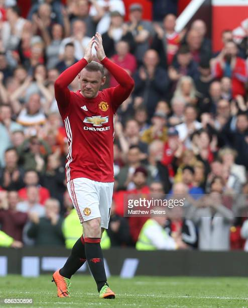Wayne Rooney of Manchester United applauds the fans after being substituted during the Premier League match between Manchester United and Crystal...