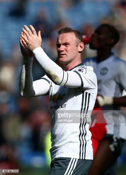 Wayne Rooney of Manchester United applauds the fans after the Premier League match between Burnley and Manchester United at Turf Moor on April 23...